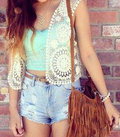 Lace Vest, Mint Top, Jean Shorts