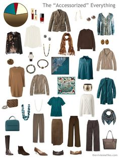 a fully-accessorized 4 by 4 Wardrobe in shades of brown with cream and teal accents