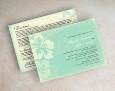 Destination Wedding Invitation, Mint Green