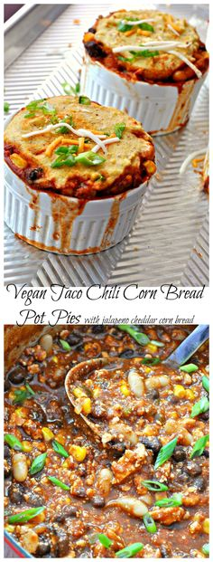 Vegan protein filled taco chili topped with a jalapeno cheddar corn bread crust and baked until golden brown perfection! Healthy and delicious!