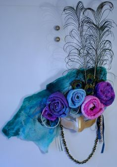 Baroque Venetian Mask with roses OOAK handmade felt by OuterLight, $360.00