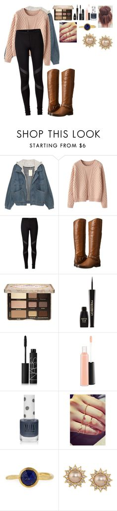 """Christmas Tree Shopping"" by chris-whimore ❤ liked on Polyvore featuring Chicnova Fashion, Frye, Too Faced Cosmetics, Napoleon Perdis, NARS Cosmetics, MAC Cosmetics, Topshop, Marco Bicego and Carolee"