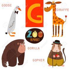 Симпатичные зоопарк алфавит в письме G. Клипарты, векторы, и Набор Иллюстраций Без Оплаты Отчислений. Image 46202303.