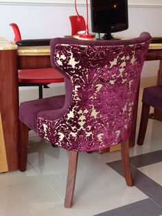 Cut velvet and a solid velvet make this chair oh so lush.