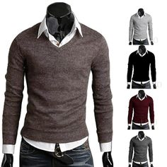 Men Casual Slim Fit V-neck Knitted Cardigan Pullover Jumper Sweater Top 5 color #unbranded #Pullover
