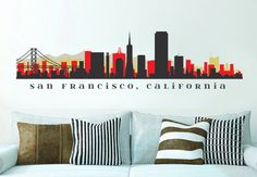 NFL 49ers San Francisco Skyline équipe Wall Decal Washington Art vinyle Peel n tenir vers le haut à 70 « x 18 » College Dorm Bureau Business décor City by AmericanDecals on Etsy