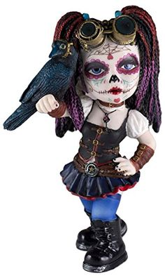 """Custom & Unique {5.5"""" x 3.25"""" Inch} 1 Single, Home & Garden """"Standing"""" Figurine Decoration Made of Grade A Resin w/ Steampunk Day Of The Dead Cosplay Kid w/ Crow Style {White, Black, Purple}"""