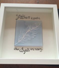 Feathers appear when angels are near... Fused glass feather box frame by S.Walsh, Sarah & Marts Art, June 2015