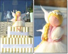 Fada em lã feltrada colocada em bolo - needlefelting fairy by Terra de Cores