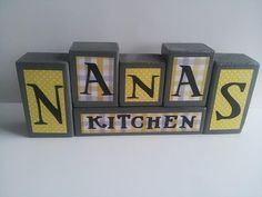 Nana's Kitchen  Wood Block Sign  Yellow by ForeverYoursCreation, $24.00