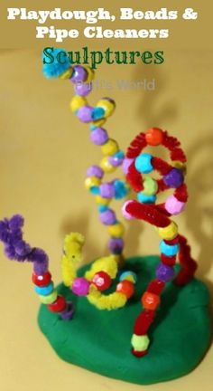 Playdough, Beads and Pipe Cleaner  Alexander Calder Sculptures