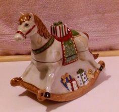 VILLEROY & BOCH CHRISTMAS TOY'S FANTASY CERAMIC ROCKING HORSE COVERED DISH  #VILLEROYANDBOCH