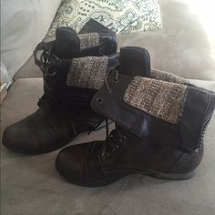 Brown combat booties Brown lace up combat boots can be worn folded or zipped up. Worn once. Shoes Ankle Boots & Booties