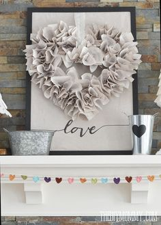 Neutral Valentine's Day Mantel Decor
