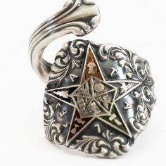 OES Spoon Ring Order of the Eastern Star Masonic by Spoonier, $63.00