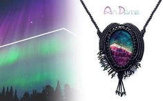This handcrafted macrame necklace with a nice colorful agate inspired by the Northen Light. The pendant and two rows of the necklace are entirely adorned with i