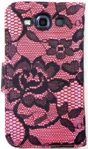 Amazon.com: Samsung Galaxy S3 i9300 Pink Lace detail Leather Wallet Folio Case with screen protector by Wireless Fones: Cell Phones & Accessories