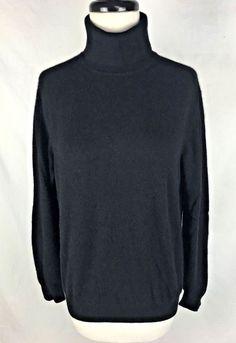LANDS END Sweater Womens M Black CASHMERE Long Sleeve #LandsEnd #TurtleneckMock