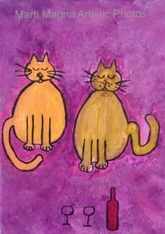 Two Cat Painting, Painting on Canvas, Print on Canvas, Acrylic Painting, Wall Art,