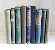 Lot of 9 Small Antique Victorian Books Blue Green Colors Shabby Chic Farmhouse Decor Instant Library Wedding Decorations - 1924 Shabby Chic Farmhouse, Farmhouse Decor, Green Colors, Blue Green, Victorian Books, John Ruskin, Library Wedding, Love Signs, Etsy Shop