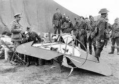 The remains of Baron Manfred von Richthofen's Fokker Dr.I triplane under the guard of AFC No. 3 Squadron (April 22, 1918). Via the Australian War Memorial