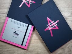 Bespoke tray case to hold an notebook for Arena Birmingham. We used 'Fuchsia Pink' and 'Imperial Blue' GFSmith Colorplan card to create an eye-catching set in their brand colours. The two colour foil print on the sleeve gives maximum brand exposure. Custom Made Gift, A5 Notebook, Gift Bags, Birmingham, Bespoke, Tray, Product Launch, Packaging, Notes