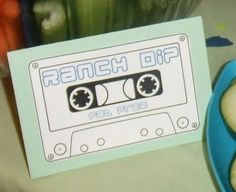 Cassette tape printable (and other ideas) for a 1980s party. LOL.