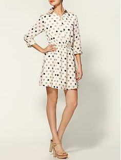 I love the simple design of this dress but  the polka dots and the combination of cream, gray and black totally got me.