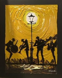 All That Jazz 4086 Jazz musicians play under a golden light in this M.Sani original acrylic painting! #gold #art