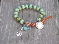 Peace and Love  Hand Knotted Czech Glass Picasso Turquoise Rondelle Beads Charm Leather Wrap Bracelet