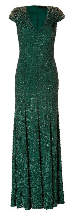 Jenny Packham Emerald Green Silk Sequined Gown..OMG this is gorgeous