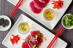A simple, beautiful appetiser: perfect tuna with a shot glass of delicious dressing.