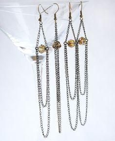 Long Chain Chandelier Earrings Boho Earthy Tribal by KapKaDesign, $39.17