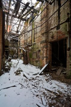 North Brother Island - Riverside Hospital. The main building of the physical plant in winter.