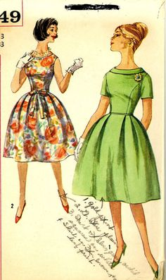 Vintage 1960s Simplicity 3749 Sewing Pattern for Junior Misses Full Skirt Madmen Party Dress, size 33 bust