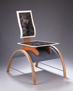 "Chair- 858 Garry Knox Bennett 2004 33 1/4"" x 20 1/2"" x 26"" Lacquered wood, white oak, G-10, gouache, brass, pigmented epoxy"