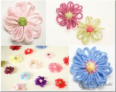 How to Make Loom Flowers - Petals to Picots,... .on homemade cardboard , embelish crochet