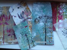 wonderful examples of cards and tags made from gelli prints and stamps
