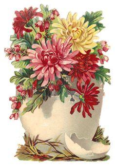 Old Victorian Die Cut Scrap Egg w/ Flowers
