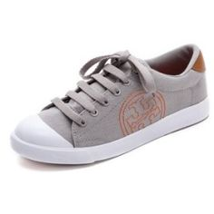Tory Burch Wally Logo Stitch Sneakers - Mercury/Tan/Poppy Red/Mercury - product - Product Review
