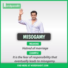 Meaning of Misogamy explained through a picture. Misogamy means 'Hatred of marriage' Interesting English Words, Learn English Words, English Phrases, English Idioms, English Lessons, English Grammar, French Lessons, Spanish Lessons, Teaching Spanish