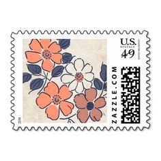 Vintage Coral and Navy Floral Wedding Postage Stamps