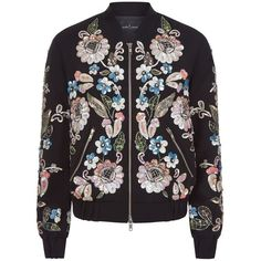 Needle & Thread Oriental Garden Bomber Jacket (£250) ❤ liked on Polyvore featuring outerwear, jackets, sports jacket, sport jacket, bomber style jacket, needle & thread and bomber jacket