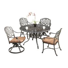 By combining outdoor elements such as ceremonial and abstract floral designs, the Floral Blossom Dining Set by Home Style is brought to life. This table is constructed of cast aluminum in a powder coated charcoal finish.