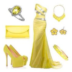So pretty!! but I would use a silver clutch to break up the crap load of yellow haha.