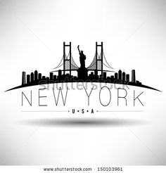 Modern New York Skyline Silhouette - remove liberty statue and have empire to complete circle around wrist