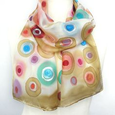 Really like this...great inspiration! Silk+Scarf+Hand+Paint+Hand+Painted+Long+Silk+Scarf+by+TeresaMare,+€22.00