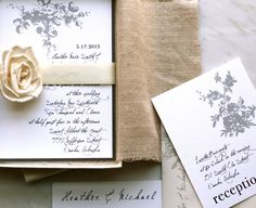 All White - Wedding Invitation Mailer With Linen, Tapioca Rose, Wide Ivory Ribbon - MAILER BOX SAMPLE