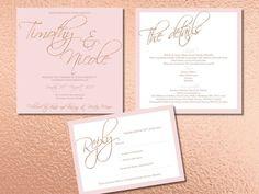 Rose Gold and Blush Wedding Invitation set, Wedding Invite, RSVP, Guest Information, Glitter by LetLoveSparkleDesign on Etsy https://www.etsy.com/uk/listing/540238201/rose-gold-and-blush-wedding-invitation