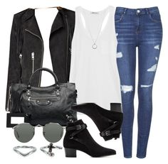 """""""Style #7544"""" by vany-alvarado ❤ liked on Polyvore featuring Topshop, AllSaints, T By Alexander Wang, Balenciaga, Yves Saint Laurent, Ray-Ban, NLY Accessories and FOSSIL"""